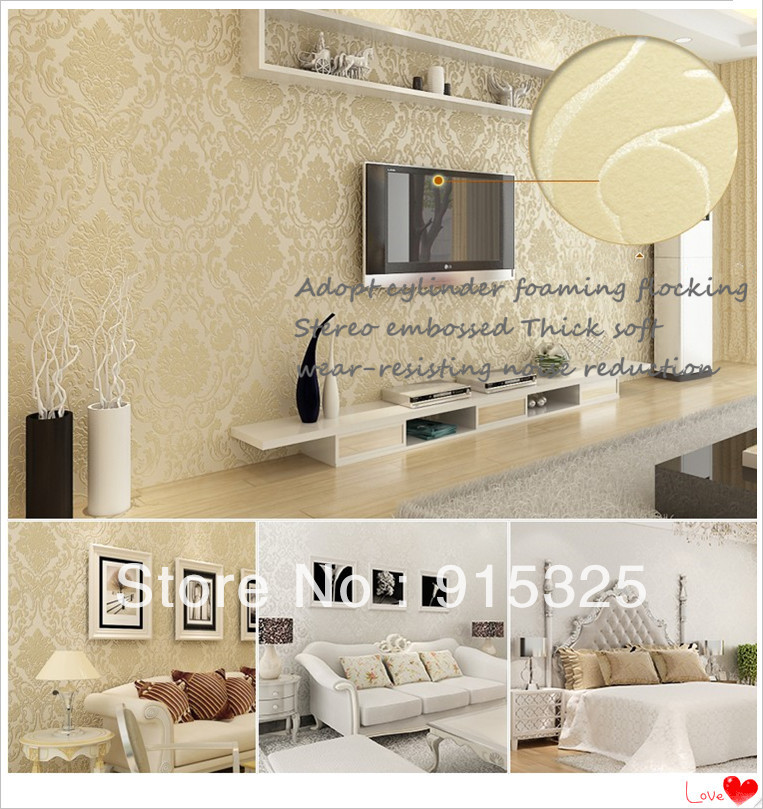 European Contracted Design Style Damask Feature Wallpaper Wall. Feature  Wall Wallpaper Ideas Living Room