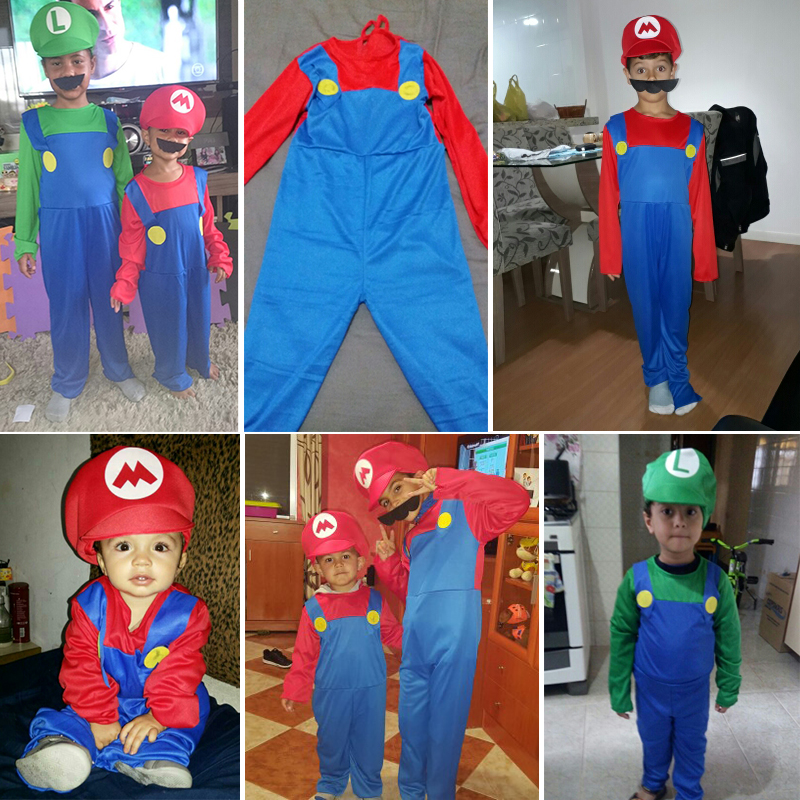 kids children funny super mario luigi brother costume for boys girls halloween costumes fantasia infantil cosplay jumpsuit new in boys costumes from novelty