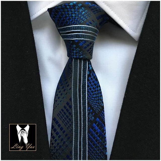 2017 Men Designers Tie Popular Skinny Necktie Royal Blue with Black Plaids White Vertical Stripe High Quality Woven