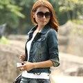 2015 весной джинсовая куртка свободного покроя винтаж женщин женщин с тонкая верхняя одежда ретро короткая конструкция женский короткая куртка