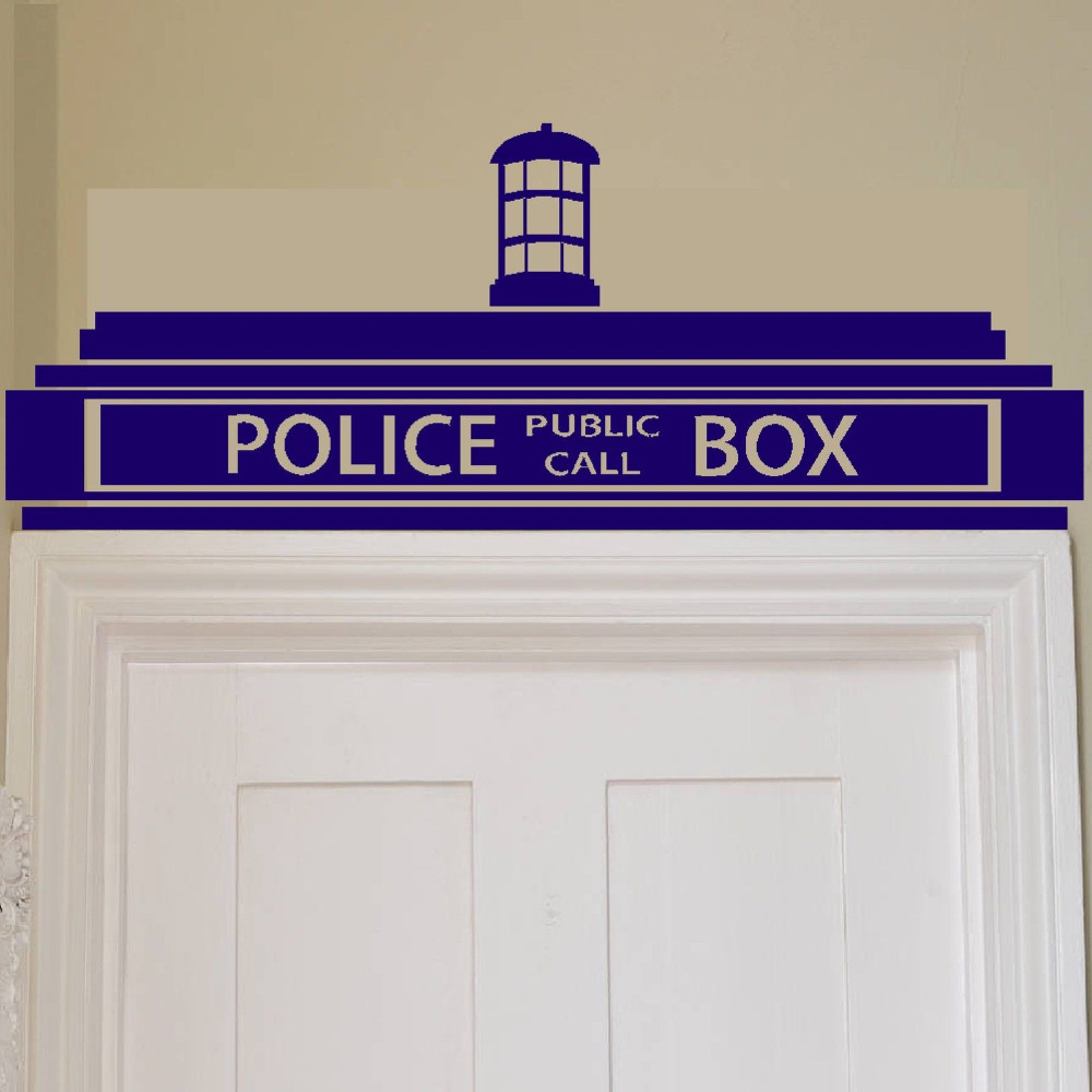 free shipping creative doctor who tardis police box wall sticker decor design kids transfer. Black Bedroom Furniture Sets. Home Design Ideas