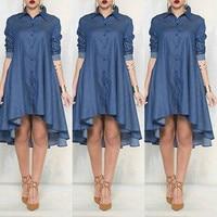 Новый Для женщин Большие джинсы джинсовое платье Свободные мини-платье Нерегулярные платья с длинным рукавом синий Xl