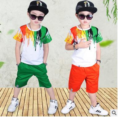 Nuevo llegado Moda Casual Boy pintura patrón Trajes Del Deporte de Ocio ropa par