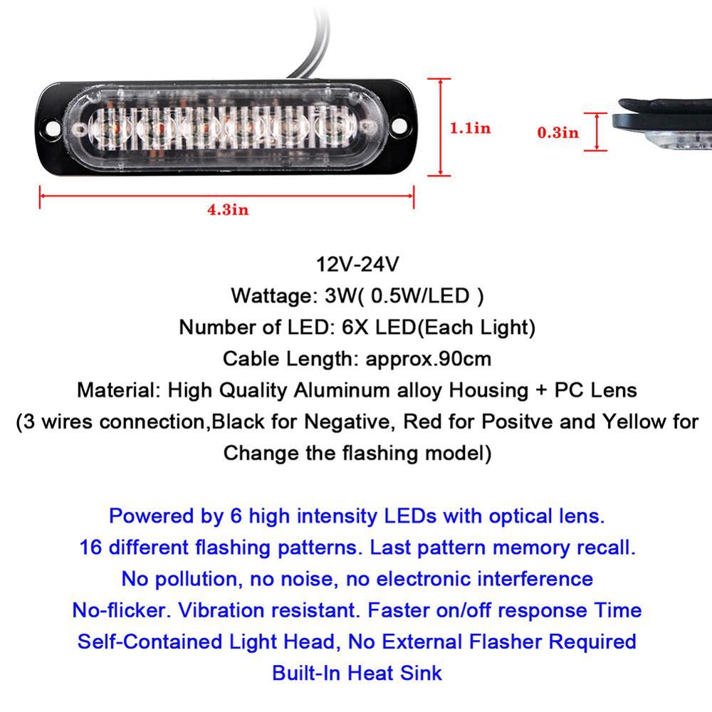Surface Mount Amber White Red Blue 6 Led Warning Emergency Flashing Wiring Black Yellow Flash Light Strobe Bar