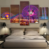 Canvas Art 5 Piece Home Decor Modern Painting Beautiful Night Fireworks Posters HD Prints Wall Pictures