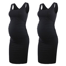 Maternity Women Dress Pregnancy Dresses Mama Clothes Flattering Side Ruching Scoop Neck Pregnant Womens Clothing