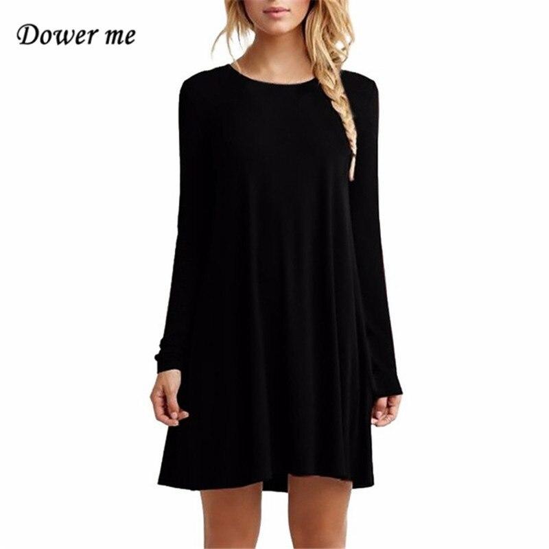 Модные Однотонная одежда Для женщин Мини платье Элегантный О-образным вырезом свободные платья vestidos Повседневное длинный рукав платья yn3089