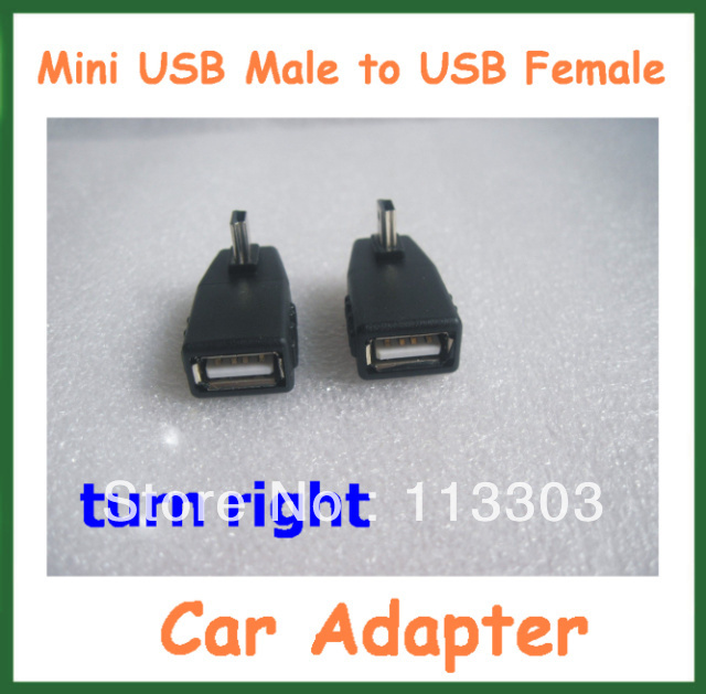 20pcs Car Adapter T style Mini USB Male to USB Female Adapter Turn Right USB Converter MP3 Connector USB OTG Host Free Shipping
