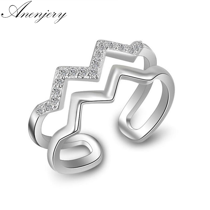 Anenjery 925 Sterling Silver Rings For Women Trendy Fashion Multi-layer Cz Zircon Wave Resizable Rings Bague S-r197 To Suit The PeopleS Convenience Back To Search Resultsjewelry & Accessories