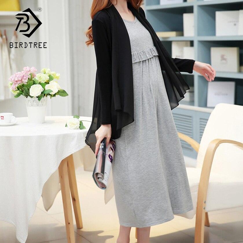 2018 Blue Maternity Breastfeeding Nursing Dresses Clothes Pregnant Women Long Dress Pregnancy 2 Peice Set Clothing Hot S83712F
