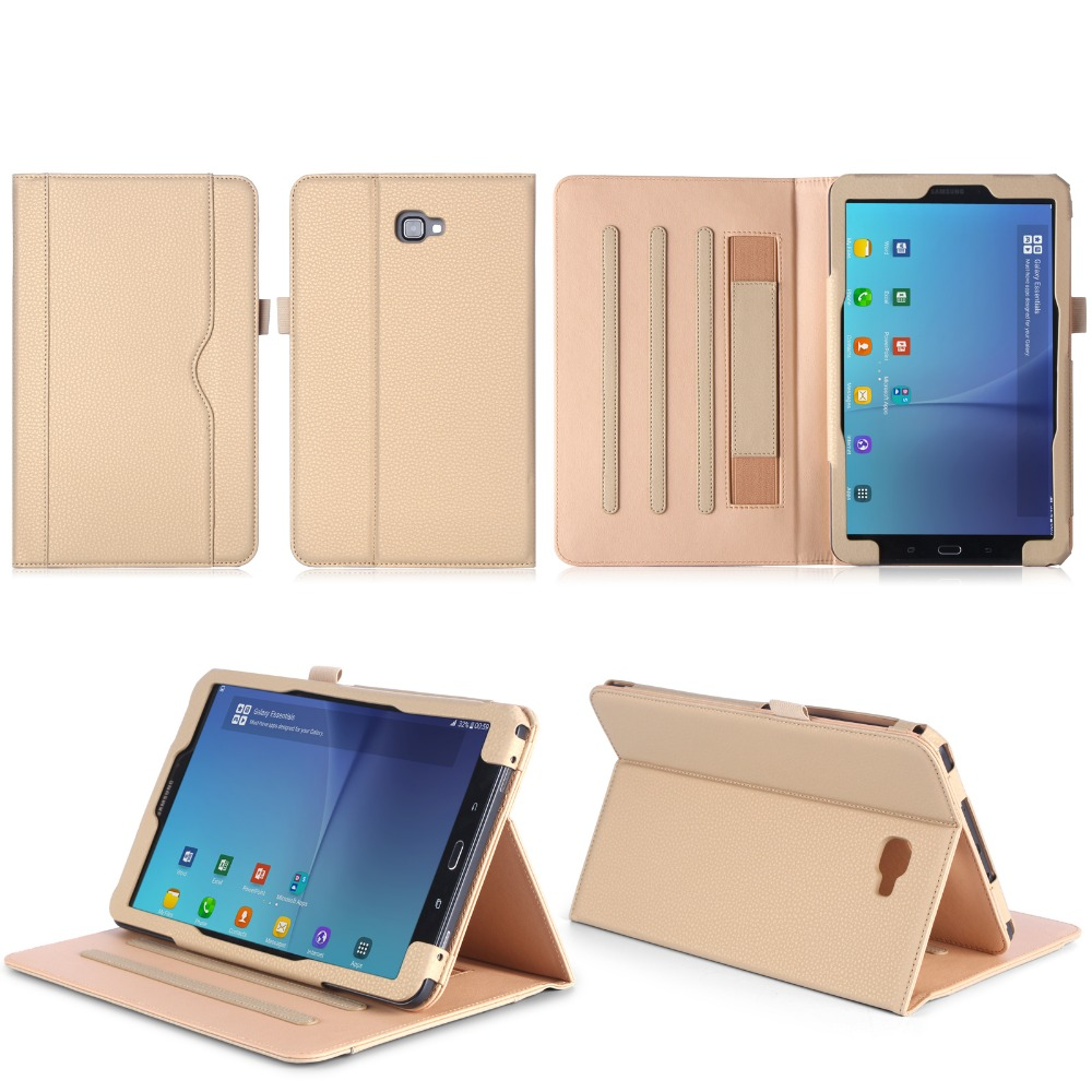 Luxury Folio Stand PU Leather Business Card Holder Case Cover For Samsung Galaxy Tab A 2016 T580 T585 SM-T580 T580N 10.1 Tablet luxury tablet case cover for samsung galaxy tab a 8 0 t350 t355 sm t355 pu leather flip case wallet card stand cover with holder