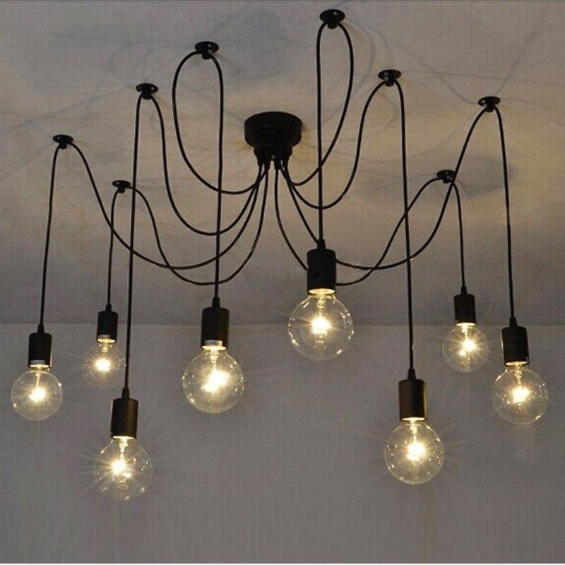 Black Spider Chandelier Lamp Vintage Retro Pendant Lamps E27 Edison Creative Loft Art Decorative Crystal