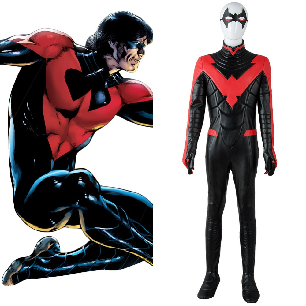 Hot Batman Young Justice Cosplay Nightwing Cosplay Costume New 52 Red Jumpsuit Cosplay Costume Adult Men Full Sets