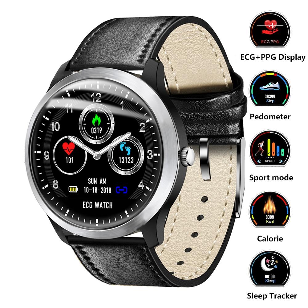 Montre intelligente ECG PPG Smart Fitness bande moniteur de fréquence cardiaque montre de pression artérielle étanche Smartwatch pour IOS Android téléphone montre
