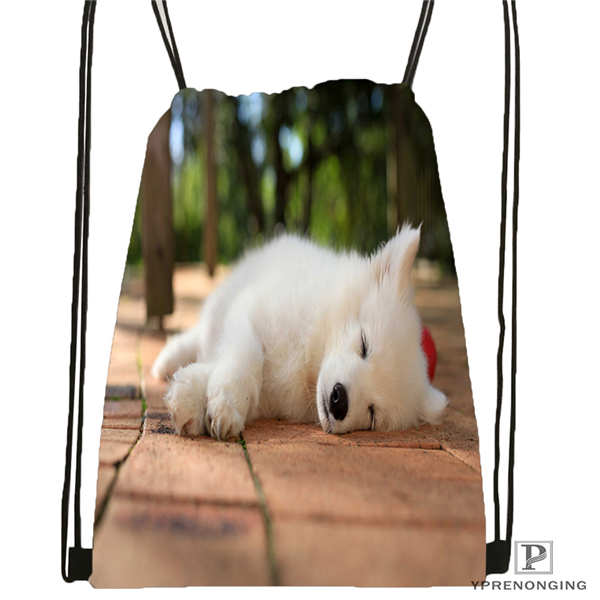 Custom Dogs-Samoyed-White-Animals Drawstring Backpack Bag Cute Daypack Kids Satchel (Black Back) 31x40cm#180611-01-25