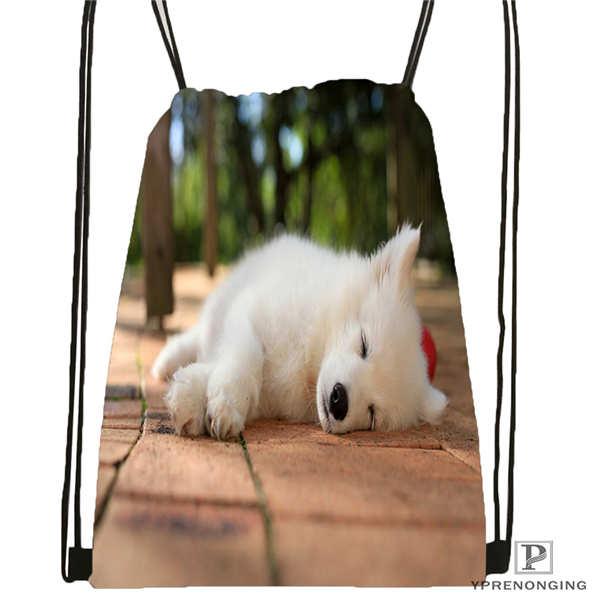 Custom Dogs-Samoyed-White-Animals Drawstring Backpack Bag Cute Daypack Kids Satchel (Black Back) 31x40cm#180611-01-25