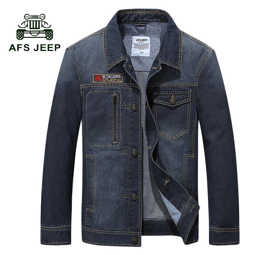 AFS JEEP Fashion Style jeans jacket men Cotton Overcoat Casual Denim jacket men coat Brand-clothing 2017 Mens denim coats 138z afs jeep autumn jeans mens straight denim trousers loose plus size 42 cowboy jeans male man clothing men casual botton page 3