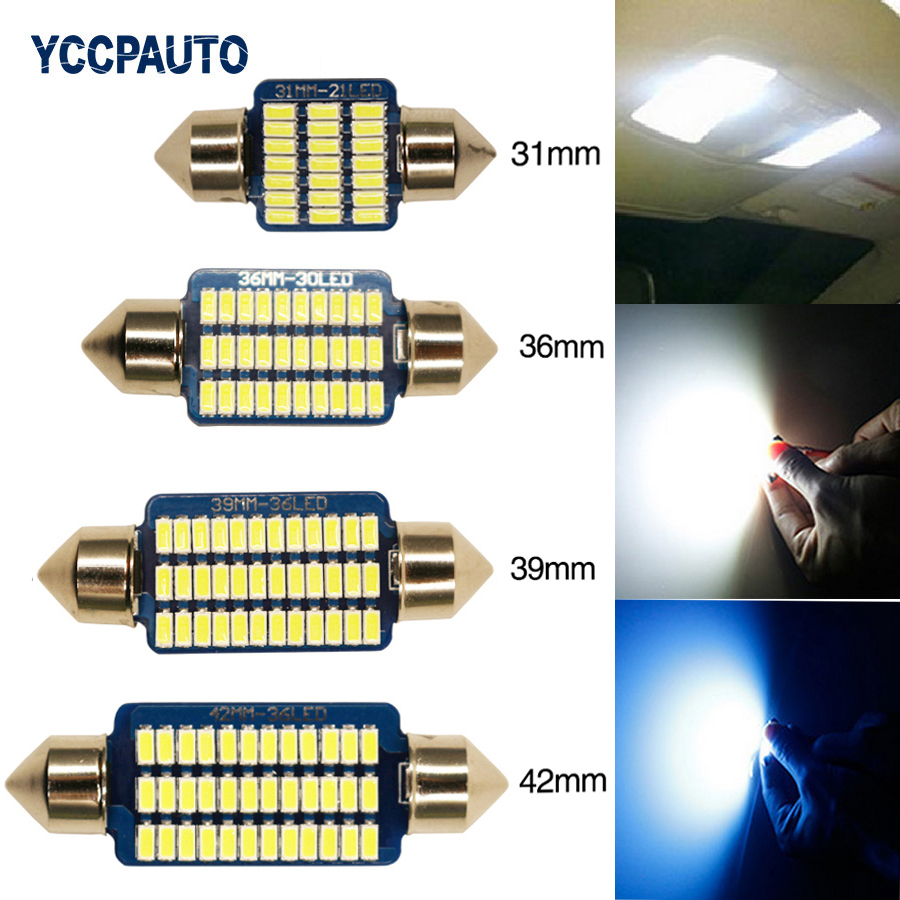 C5W C10W Light Car Festoon LED Lamp 31/36/39/42mm Canbus Error Free Interior Dome Reading Bulb 4PCS Newest High Quality 3014 SMD high quality 31mm 36mm 39mm 42mm c5w c10w super bright 3030smd car led festoon light canbus error free interior doom lamp bulb