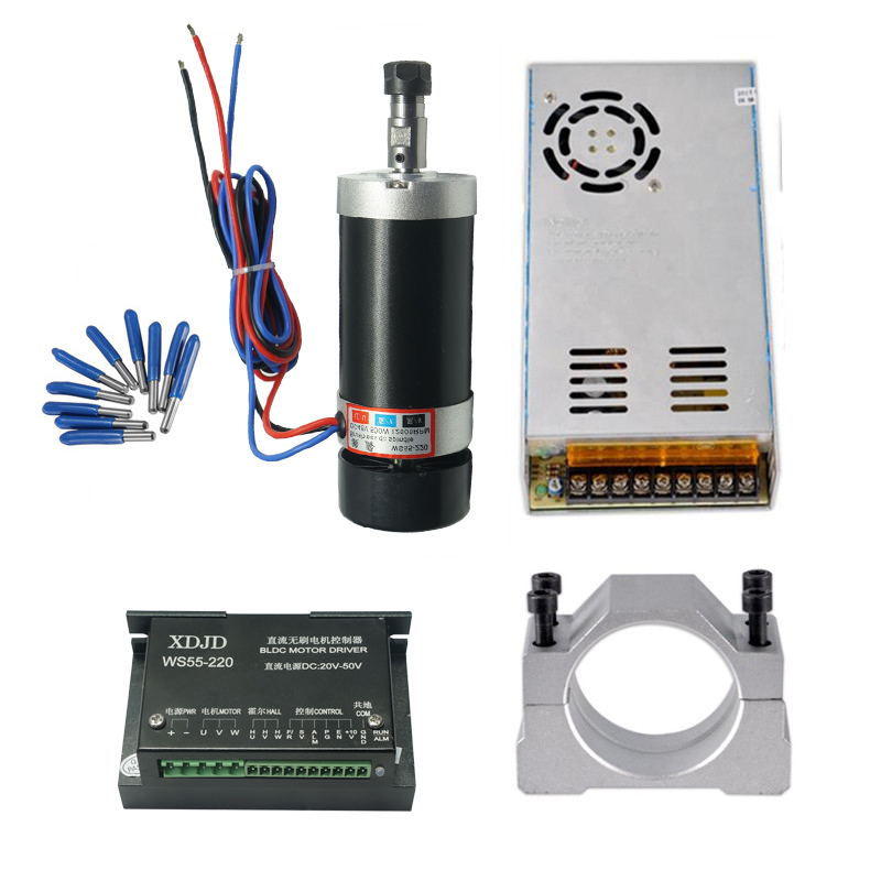 ER11 Brushless 500W DC Spindle CNC machine Router 55MM Clamp Stepper Motor Driver Power Supply 3.175mm cnc tools new er11 48v 400w brushless spindle motor drive kits high speed with dc motor drive spindle controller cnc diy milling machine