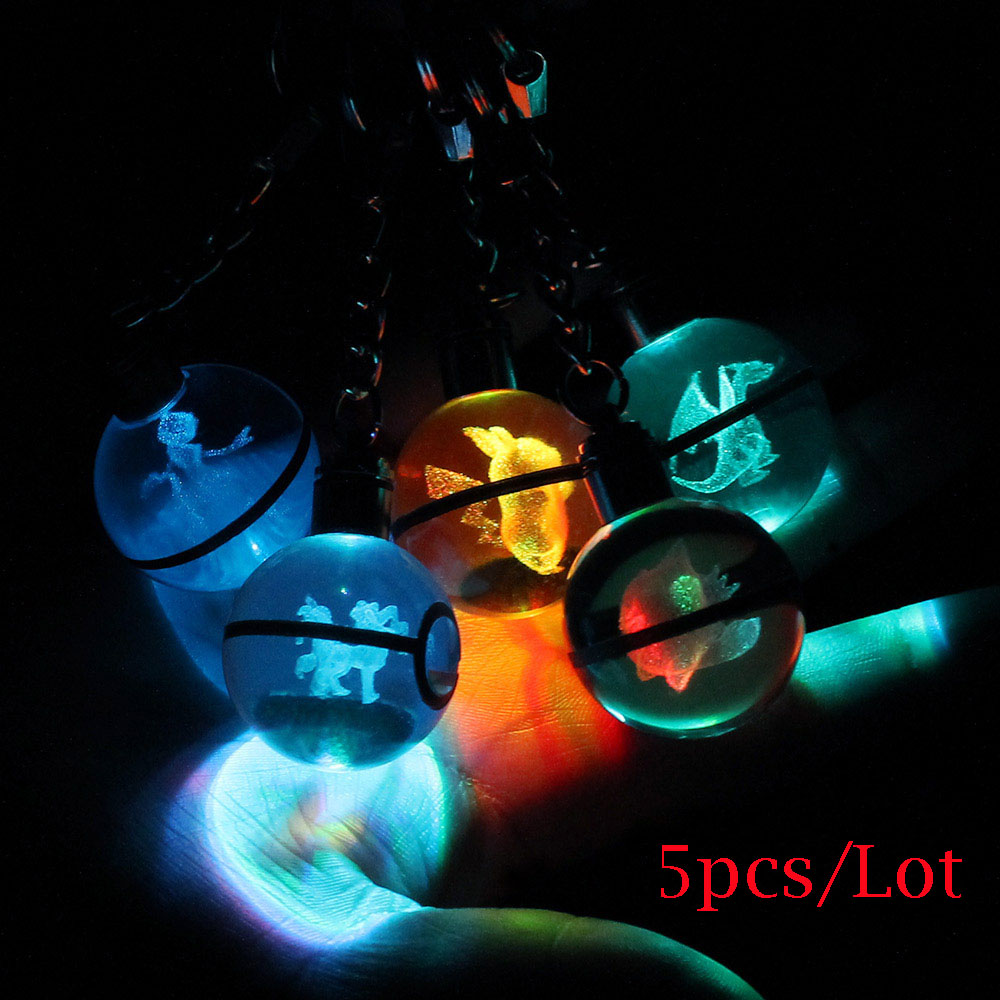 5pcs/Lot Hot Game Pokemon Go Engraving Round 3D Crystal Ball LED Keychain Colorful Pendant Child Christmas Gift