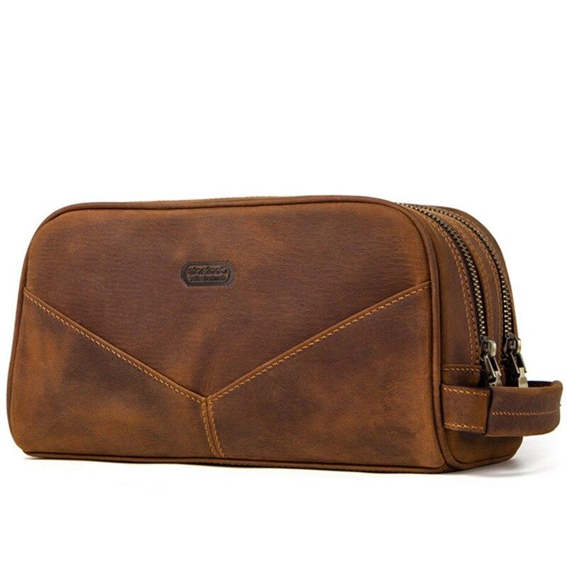 Man Woman Genuine Leather Handbag High Capacity Female Fashion Cosmetic Toiletry Cases Phone Hand held Makeup