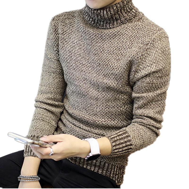 Высокое качество, лидер продаж осень Для мужчин водолазка Однотонная одежда толстый свитер молодых студентов пальто Для мужчин одежда осень-зима мужской тонкий