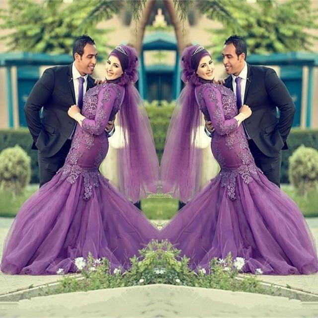 Saudi arabia turkish islamic women robe de mariage long sleeve saudi arabia turkish islamic women robe de mariage long sleeve appliques purple wedding dress muslim hijab junglespirit Gallery