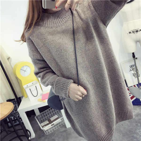 Moda outono Maternidade Camisola de Volta Se Divide Pullovers Roupas para Mulheres Grávidas Gravidez Inverno Vestido Longo de Malha