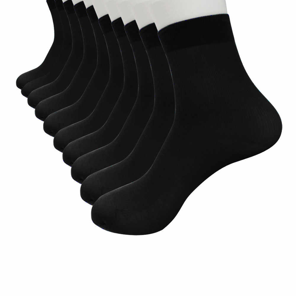 Feitong Hot Sale 10 Pairs Set Sock For Men Bamboo Fiber Ultra-thin Elastic Silky Short Silk Ankle Solid Color Men Short Socks