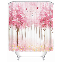 Custom Shower Curtain Bathroom Waterproof Bath Screen Beautiful Red Flowers High Quality Bathroom Accessories