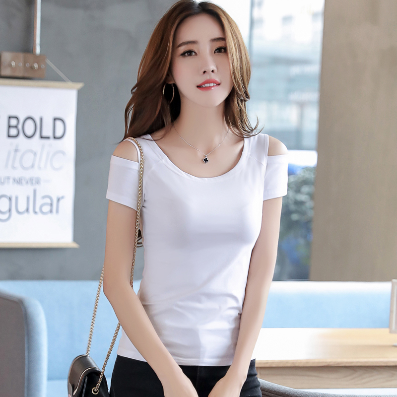 b57ac7c0a96 3 Colors Cute Sweet Tops Women Fashion 2018 Summer Short Sleeve Casual T  Shirt White Black Pink Cotton T Shirt Open Shoulder Top-in T-Shirts from  Women's ...