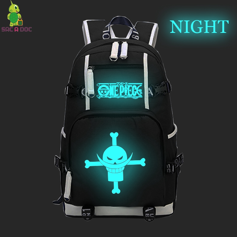 One Piece barbe blanche sac à dos hommes femmes sac à dos pour ordinateur portable Anime lumineux sacs d'école pour adolescents grande capacité sacs de voyage
