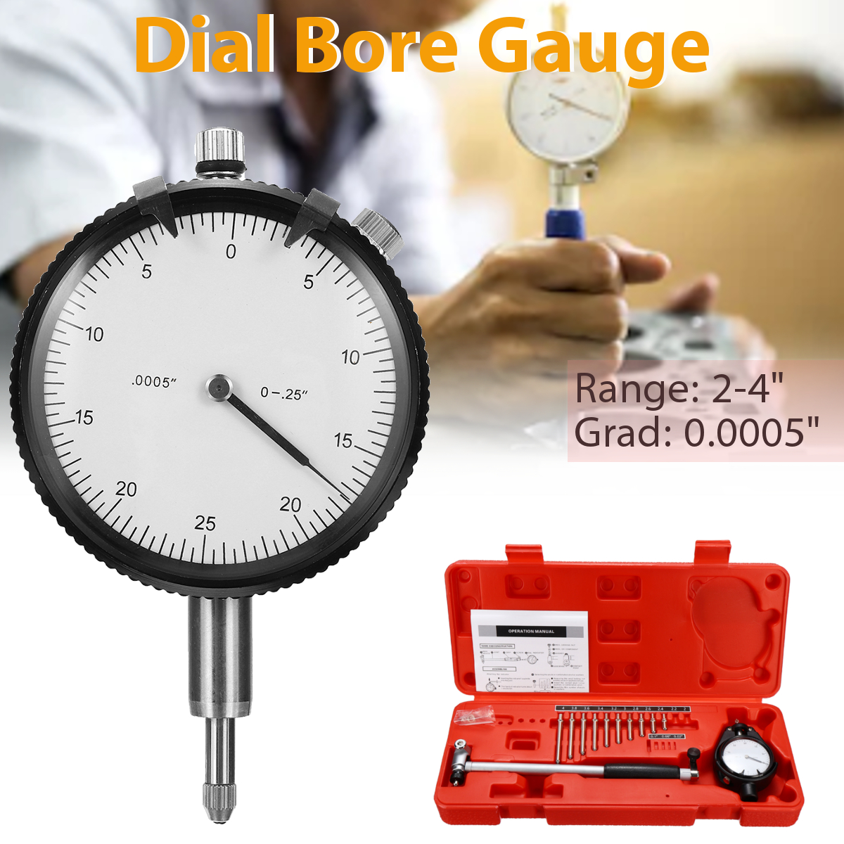 цена на 2-4'' Grad 0.0005'' Movable/Changeable Probe Engine Cylinder Dial Bore Gauge Measure Indicator Resolution Steel+ABS Durability