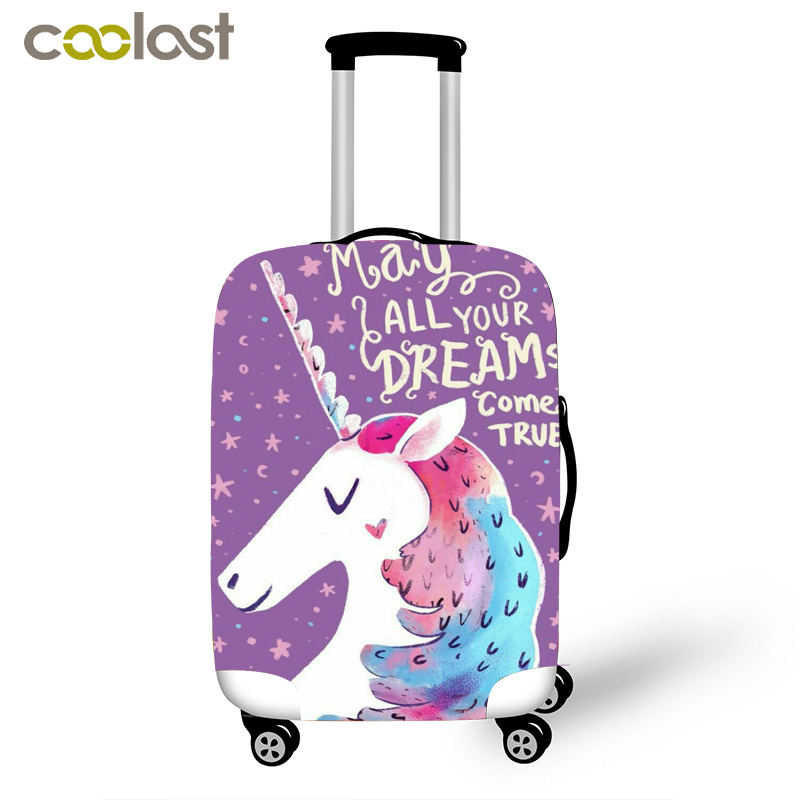 Unicorn Luggage Cover For Girls Travel Accessories Elastic Case Bag Cover Animal Patchwork 18-32 Inch Suitcase Protective Covers
