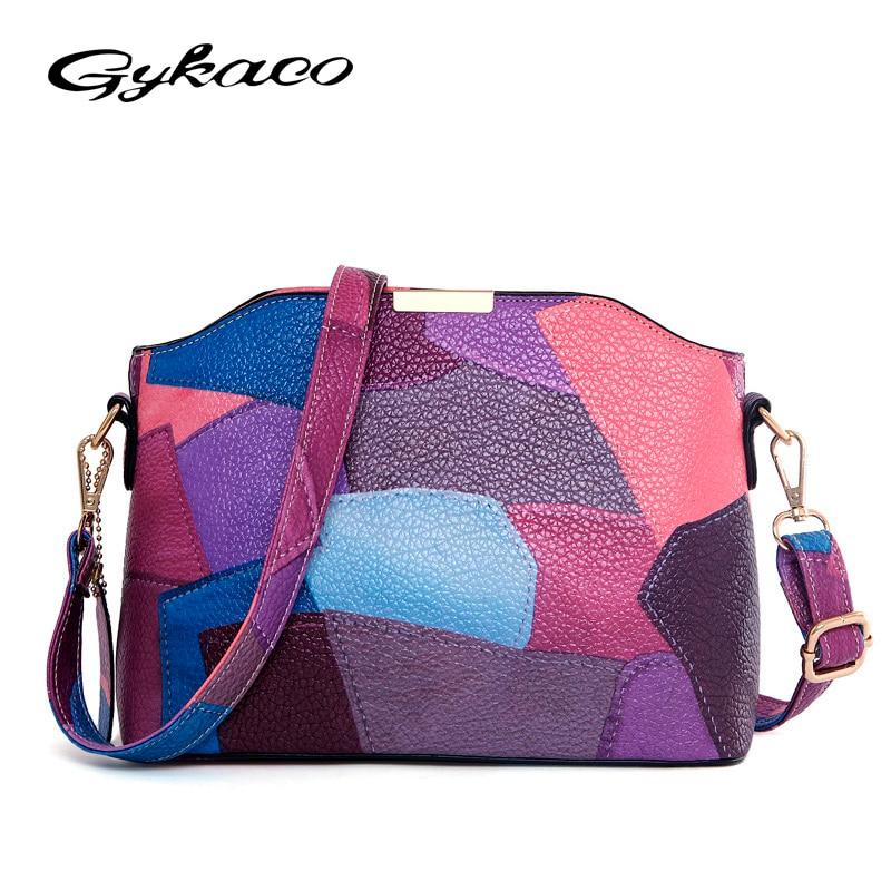 Gykaeo Women Patchwork Handbag Small Shoulder Messenger Bags Leather Designer Party Bags High Quality Crossbody Bag Clutch Purse