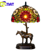 FUMAT Rose Sunflower Flower Color Stained Glass Table Lamp Bronze Horse Desk Light LED Bulb Pure Luxury Copper Tiffany lamp
