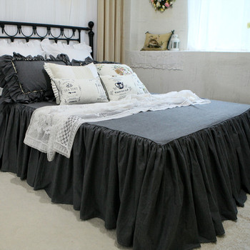 Full grey bedspread wrinkle handmade bed cover 100% cotton coverlet bedroom bed spread bed covers ( not including pillowcase )