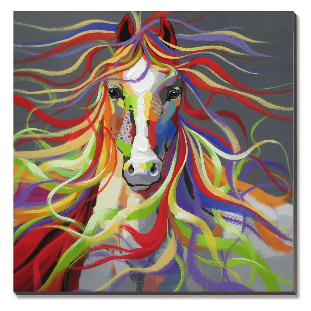 Top Selling Colorful Horse Oil Paintings 100% Hand Made Wall Art ...