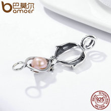 BAMOER Genuine 100% 925 Sterling Silver Animal Dolphins Love Heart Cage Pendant fit Women Chain Necklace Chain jewelry SCP017