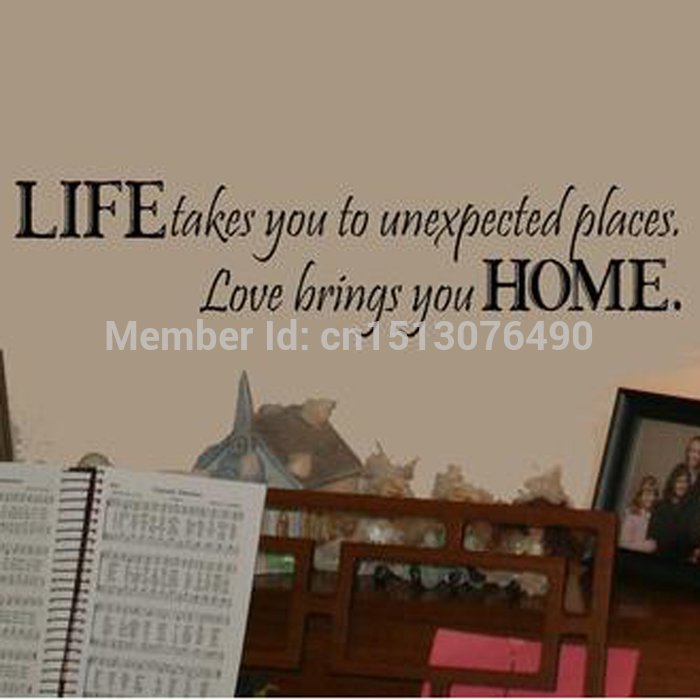 Life Takes You Unexpected Places Love Brings You HOME Saying Quote Home Decor 8081 Art V ...