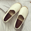 Female flat shoes round straw summer shoes flat heel loafers white pedal lazy shoes