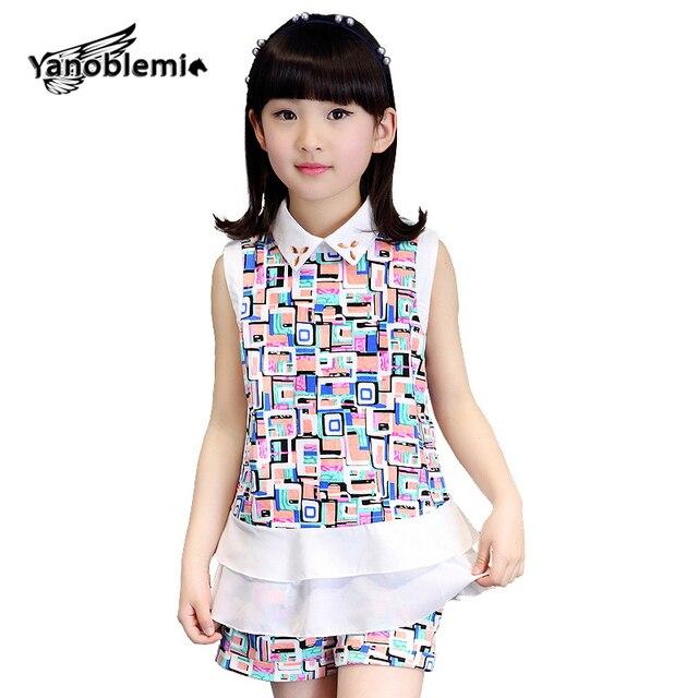 96b2250e66a5 Одежда и аксессуары для девочек летний модный комплект камуфляж плед  шифоновая блузка без рукавов + Шорты