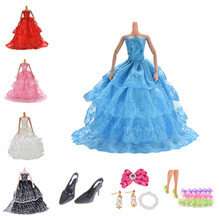 Shoes Multi Layers Wedding Dress Party Gown Princess Cute Outfit Clothes For Barbie Doll Girls' Gift nk one set original princess doll dress noble party gown for barbie doll fashion design outfit best gift for girl doll