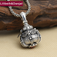 Buddha Men Pendant 925 Sterling silver Ruby Buddhist Heart Sutra Can hold thing Gum Box Necklace Pendant Jewelry FP47