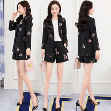 Ladies blazer Embroidered long-sleeved suit jacket female Temperament shorts ladies 2019 autumn new high quality