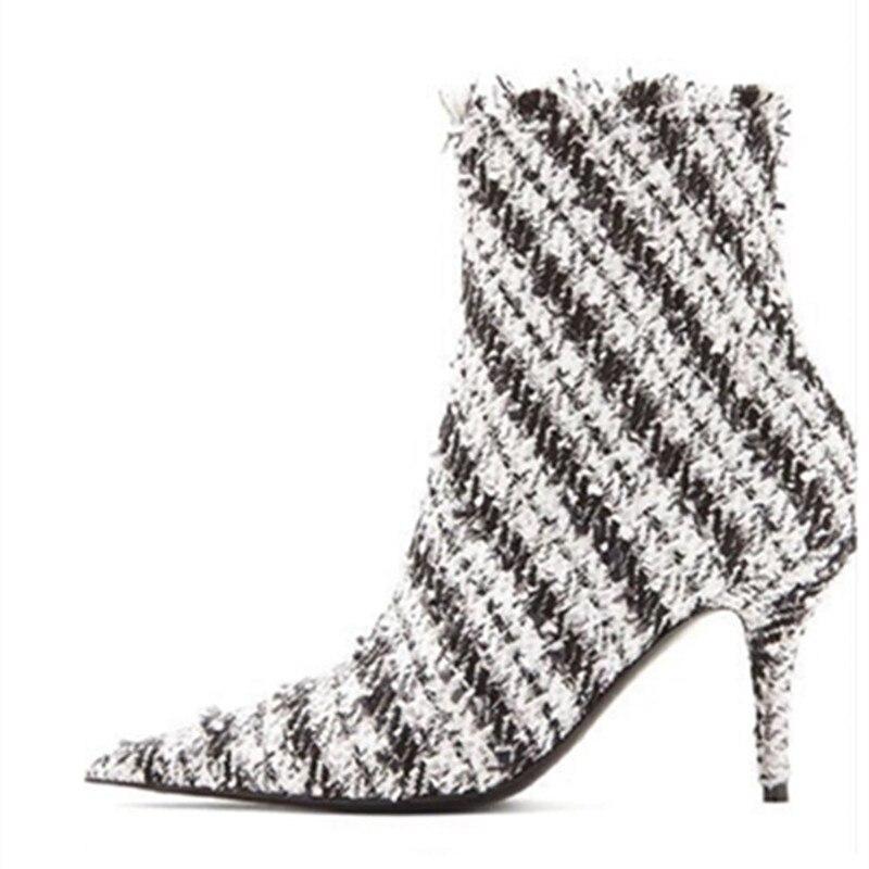 Femmes Pic Pointu Mode Blanc commande Haute Bottes Printemps Marque As Pistes Pic Cheville Pré Automne Tweed as Chaussures Talons Rouge De Bout Noir d6BwvqX