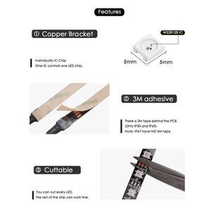 Image 2 - WS2812B DC 5V LED bande RGB 50CM 1M 2M 3M 4M 5M 30/60/144 LED s Smart adressable Pixel noir blanc PCB WS2812 IC 17Key Bar