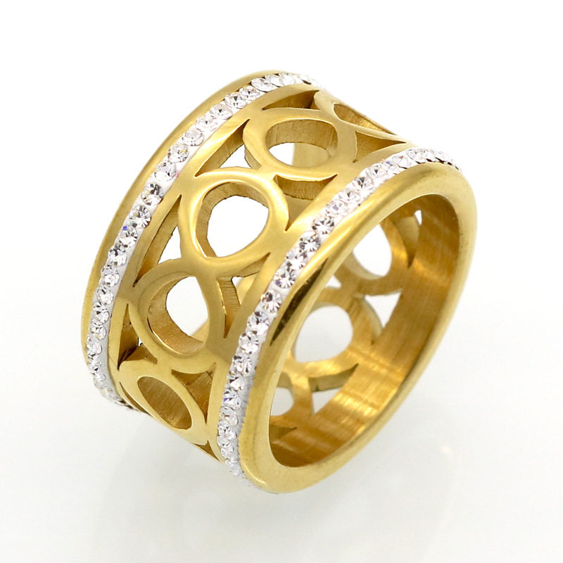 Fashion Women Silver Gold Titanium Steel Lucky 8 Number lovely Heart Double Circle Crystal Finger Rings Jewelry