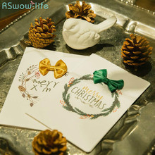 2Pcs Greeting Card Beautiful Big Bow Christmas Postcards Thank You Cards For Festive Party