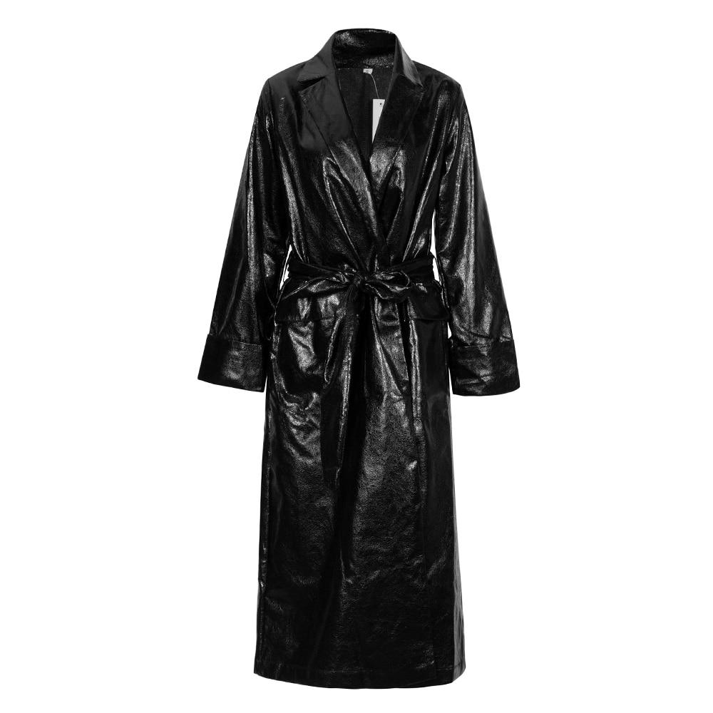 Gros En Femmes Manches Mode Longues Manteau À Clubwear Ceintures Artificielle V Causalité Vestes Nouveau Cou Noir Cuir 2018 qTU0wfPP